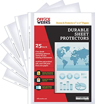 Amazon Com 11 X 17 Sheet Protectors Portrait View 25 Pack Top Loading Protect Store And Display 11x17 Paper Photographs Prints And Documents Office Products