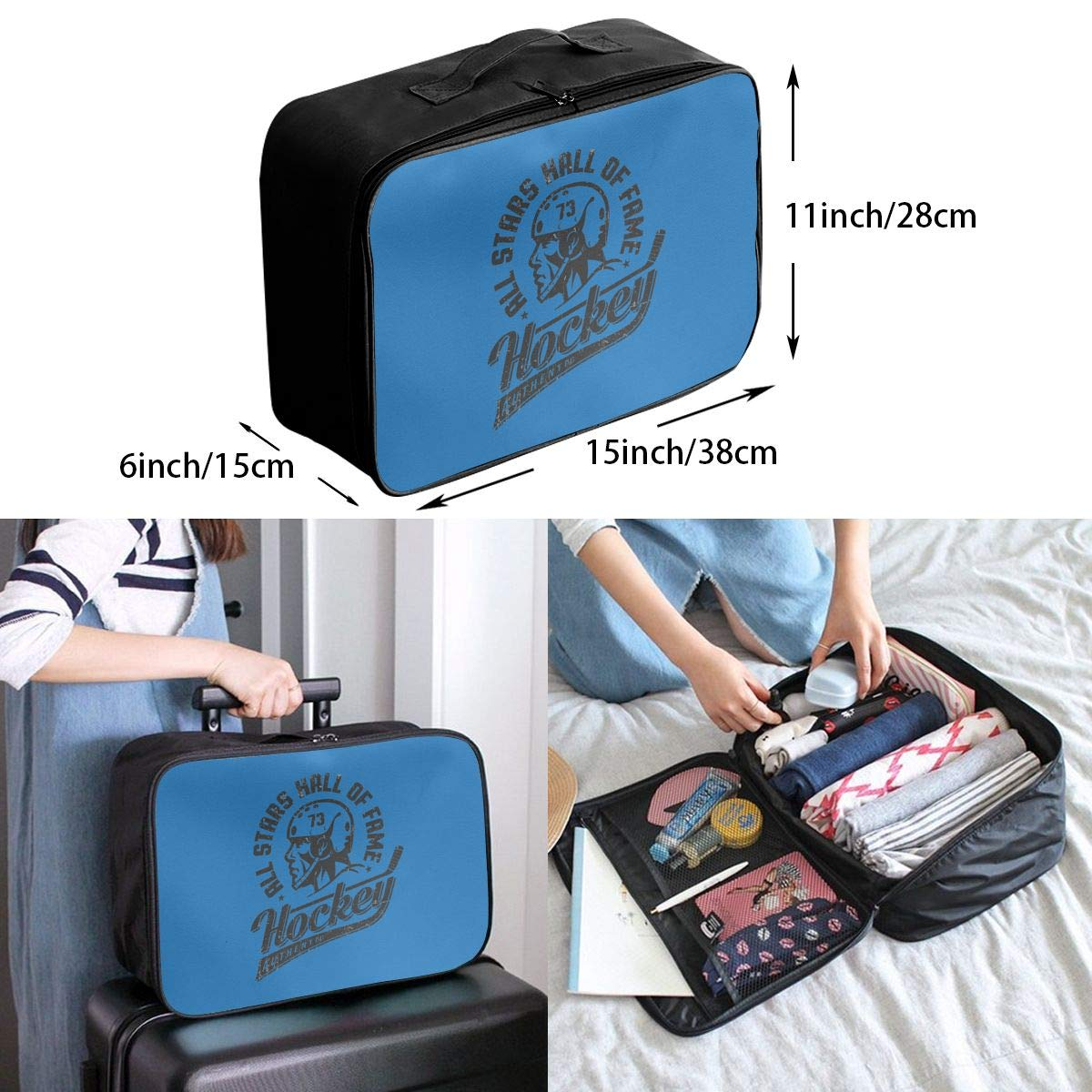 Travel Duffel Bag Waterproof Lightweight Large Capacity Travel Bag Hockey Player In Helmet Logo Portable Carry On Luggage Bag For Travel Camping Sport