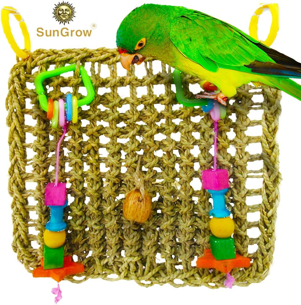 Tuck Treats in Waffle Ball or pod Cups Long Lasting Bird Foraging Wall Toy with Hanging Hook for Beak Exercise and IQ Simulation of Small /& Medium Bird Seagrass Woven Mat Safe to Chew