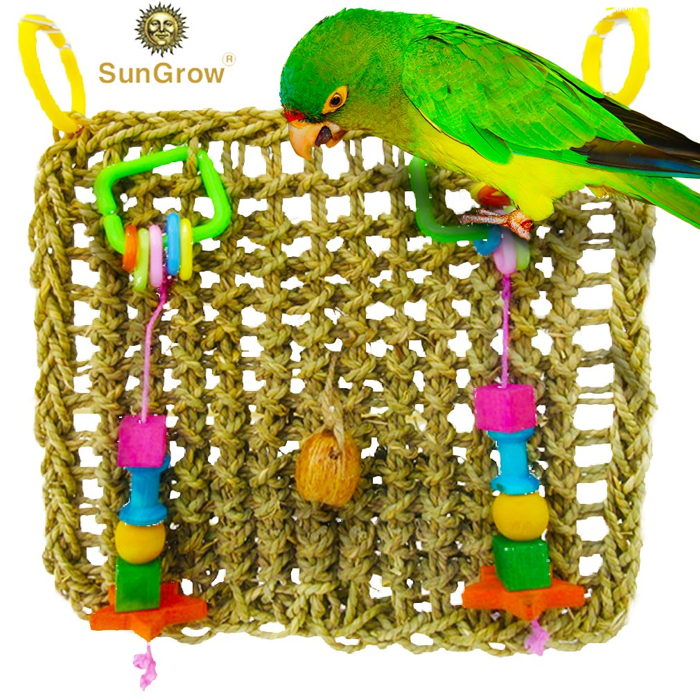 Bird Foraging Wall Toy with Hanging Hook Seagrass Woven Mat Safe to Chew for Beak Exercise and IQ Simulation of Small & Medium Bird Tuck Treats in Waffle Ball or pod Cups Long Lasting