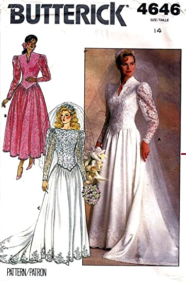 Amazon.com: Butterick 4646 Misses Bridal Gown/Dress with Train ...