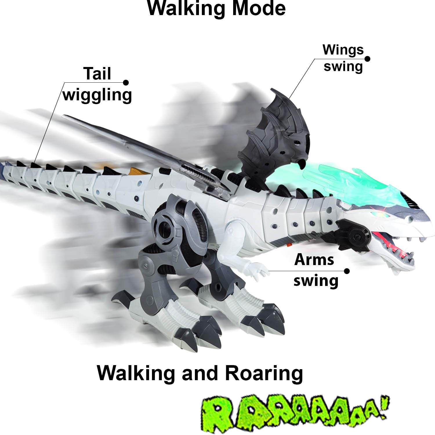 Breathing Fire Premium Dragon Toy // Dinosaur Toy for Kids Colors Vary, Age 3+ Mist Battery Operated Flying Dragon Walking and Roaring Dual Play Modes Wings and Tail Swing