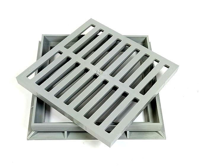 Marley Einlaufrost Rost mit Rahmen 20x20 cm begehbar f/ür Einlaufschacht Gulli PVC