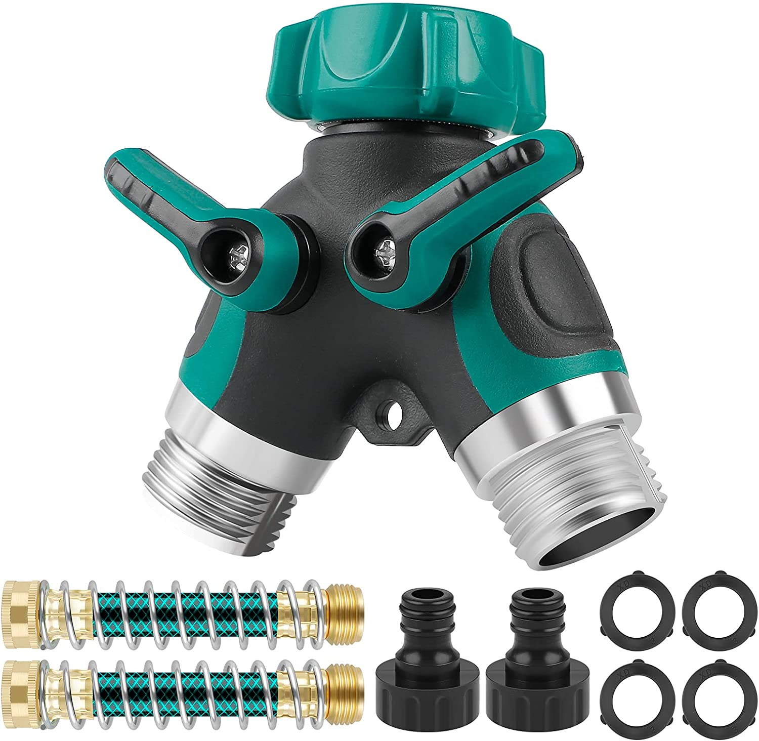 Water Garden Hose Y Splitter - 2 Way Valves Leakproof Dual Metal Spigot Nozzle Connector for Outdoor with 4 Extra Rubber Washers 2 Coiled Spring Tubes 2 Adapters