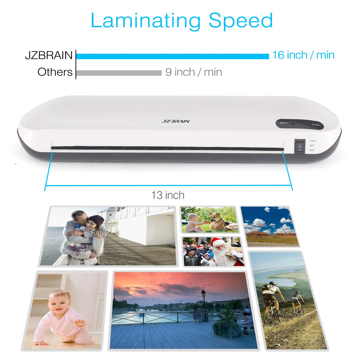 JZBRAIN Laminating Machine, A3 Laminator Machine with Trimmer and Corner Rounder, Two Minutes Quick Warm-Up, Hot & Cold Fast Laminating, 13'' Max Lamination Width (White) by JZBRAIN (Image #2)
