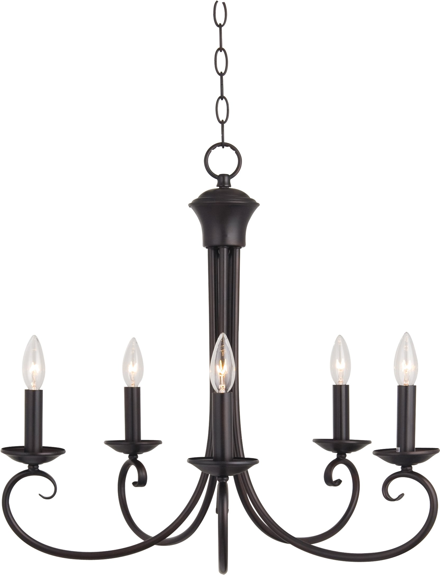 Maxim 70005OI Loft 5-Light Chandelier, Oil Rubbed Bronze Finish, Glass, CA Incandescent Incandescent Bulb , 60W Max., Wet Safety Rating, Standard Dimmable, Glass Shade Material, 672 Rated Lumens