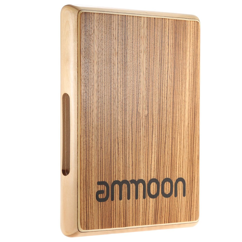ammoon Compact Travel Cajon Flat Hand Drum Persussion Instrument 31.5 24.5 4.5cm