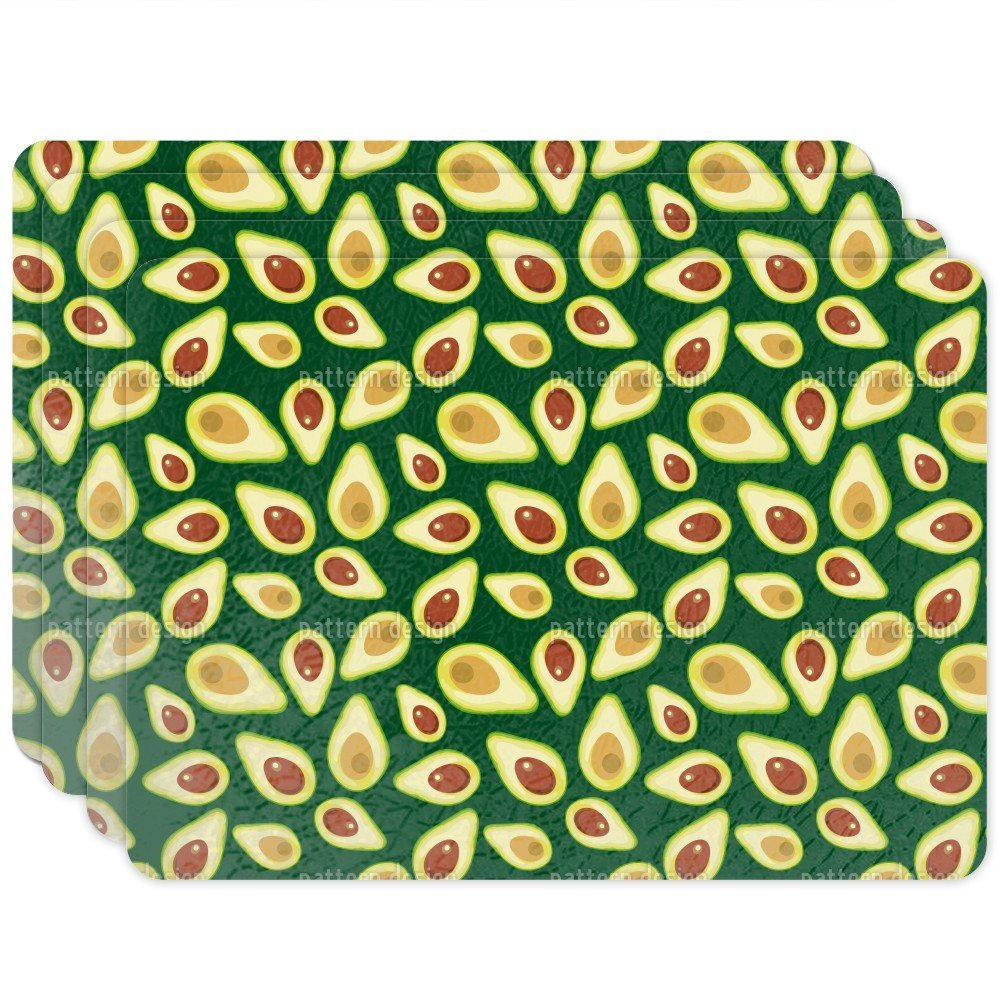 Placemat Unique Custom Printed Placemats - Washable Woven Fabric Decorative Table Mat - For Kitchen Table, Dining Table - Design: Avocado - Set of 4