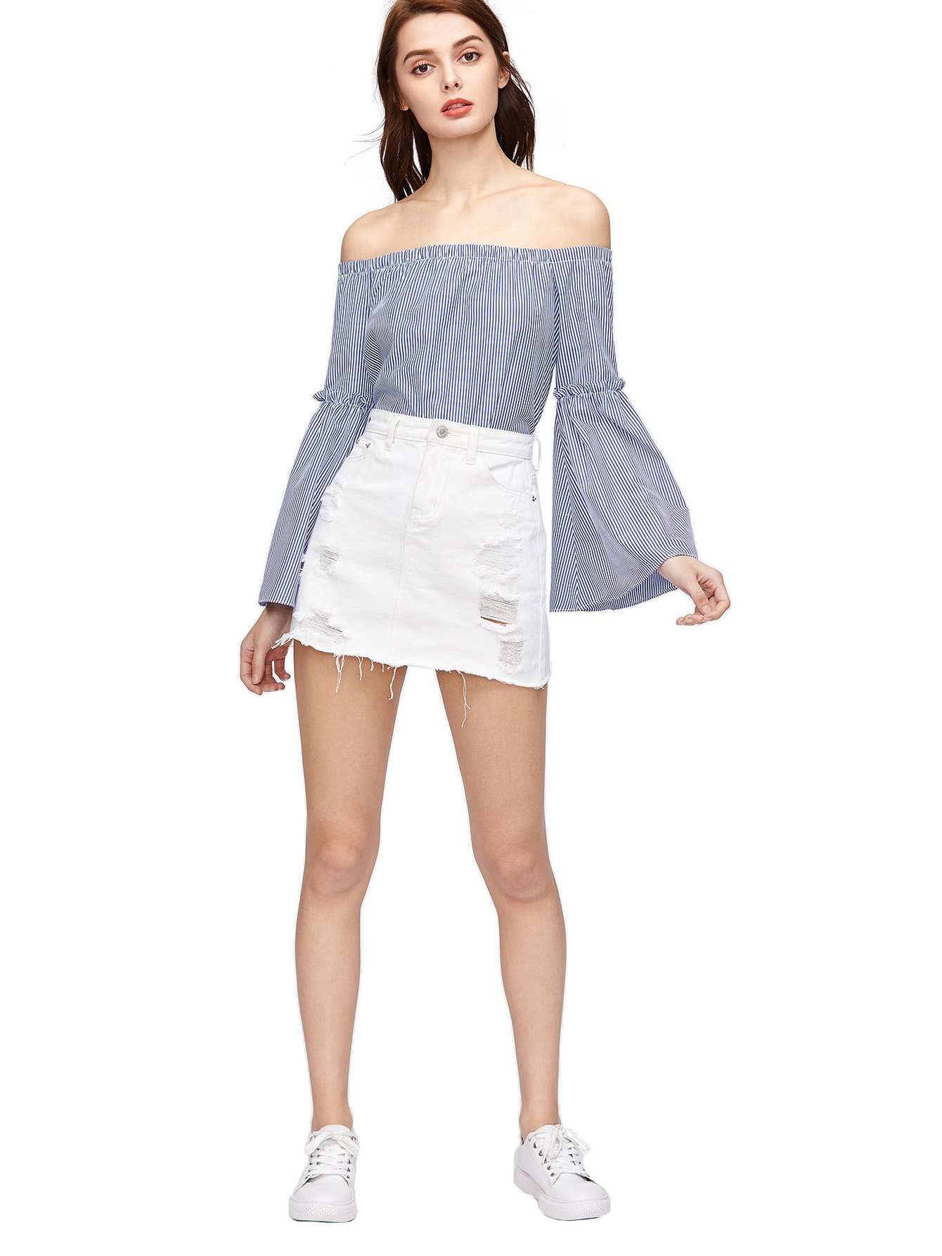 Verdusa Women's Casual Distressed Fray Hem A-Line Denim Short Skirt White S by Verdusa (Image #4)