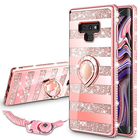 292f2982e VEGO Galaxy Note 9 Case Glitter Bling Diamond Rhinestone Bumper Sparkly  Protective Grip Case with Kickstand