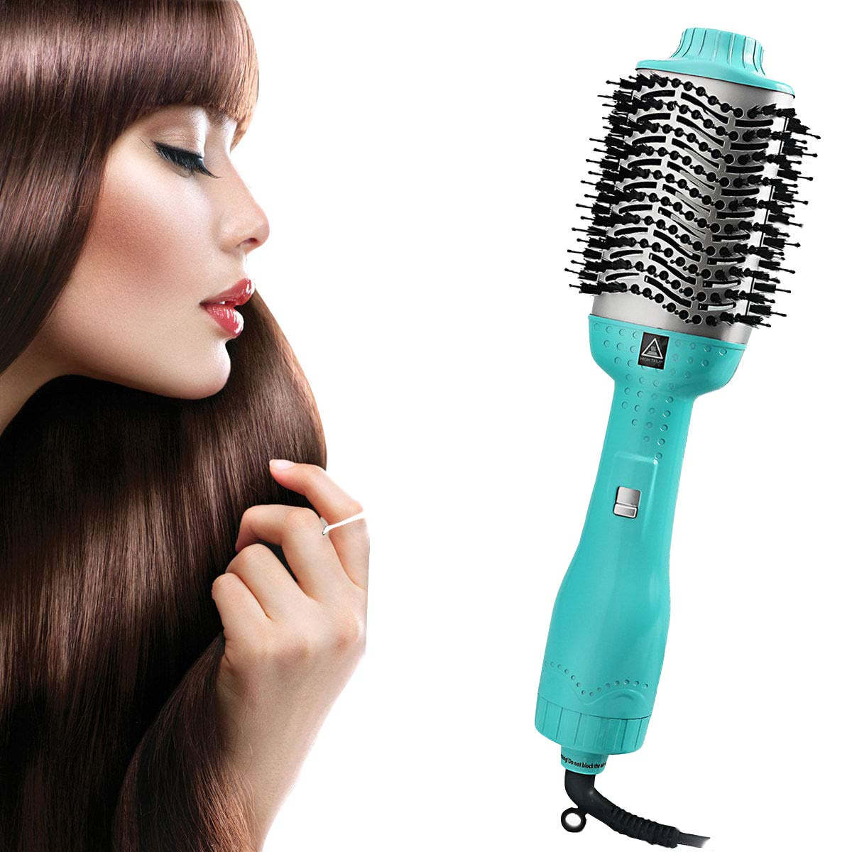 SanMoz One Step Hair Dryer Styler Volumizer – Ceramic Coating Heated 4 in 1 Faster Blowout Hot Air Brush with a Velvet Storage Bag, Macaron Blue