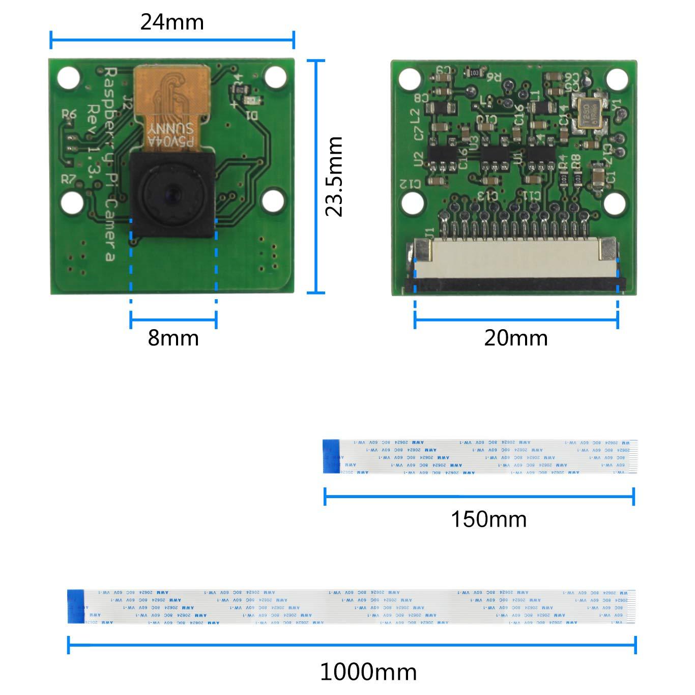 Jun_Electronic 5MP 1080P Video Camera Module for Raspberry Pi 3 b+, Pi Zero  W Camera with Case and Flex Cable (camera + holder)