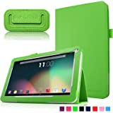 """Infiland Folio PU Cuero Funda Cascara Delgada con Soporte para 10,1 Pulgadas Dragon Touch A1X Quad Core Tablet PC,JYJ 10"""" Pulgadas Tablet PC, AcePad SuperPad XT2 10"""" Pulgadas Tablet PC, Tabexpress (10 Pulgadas) Tablet-PC, Polatab Elite Q10.1"""", iStyle 2014 New 10.1"""" Pulgadas(Consulte más modelos de tablet compatibles en la Descripción)(Verde)"""