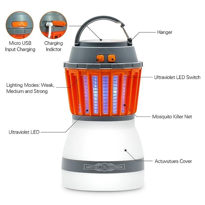 Tecomax - Farol de acampada para tienda de campaña, portátil, impermeable IP67, 2 en 1 LED UV Fuente de luz inductiva lámpara de mosquito, ...