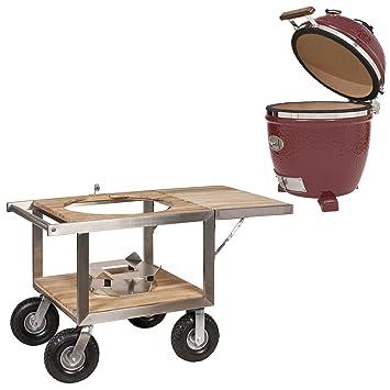 Monolith Classic Red con buggy y lado mesa modelo 2017 cerámica parrilla Barbacoa: Amazon.es: Jardín