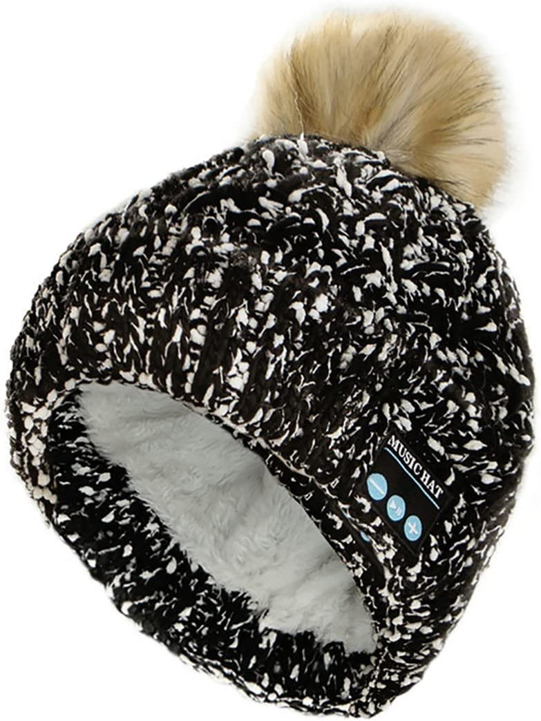 Happy-top Wireless Music Beanie Hat Winter Washable Soft Warm Knit Hat Pom Pom Beanies with Stereo Headphones Headset Speaker Mic Hands-Free Cap for Women Men Gifts Running Skiing Skating Black