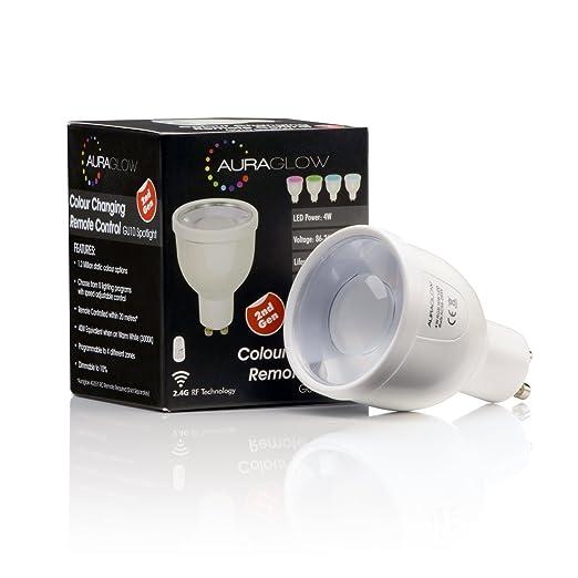 Bombilla LED, de Auraglow, GU10, 2,4 Ghz, mando a distancia