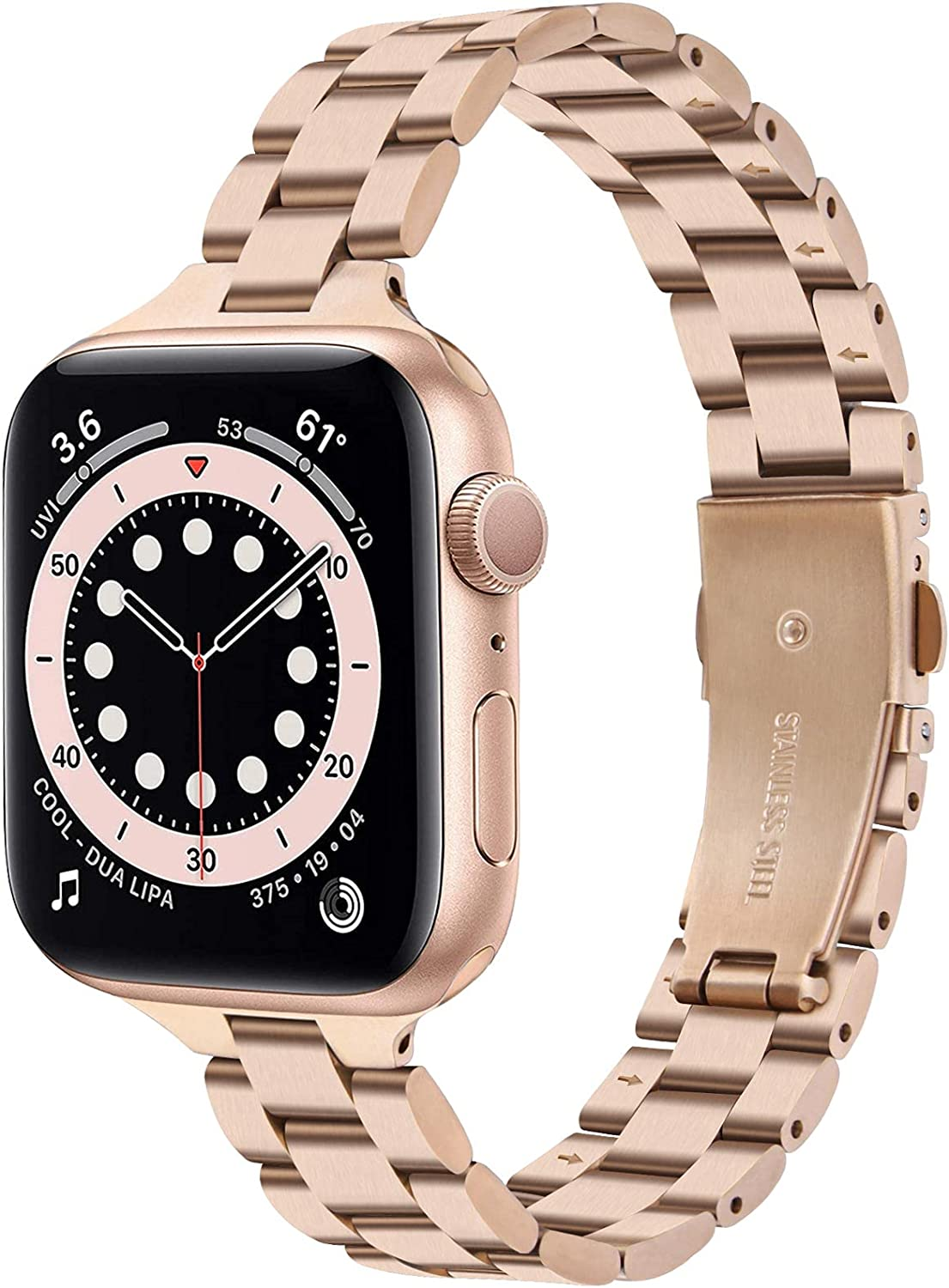Slim Metal Band Compatible with Apple Watch Series 6/5/4/3 38mm 40mm, CAGOS iWatch Strap Stainless Steel Link Bracelet Replacement for Women Girls Men (Rose Gold, 38mm/40mm)