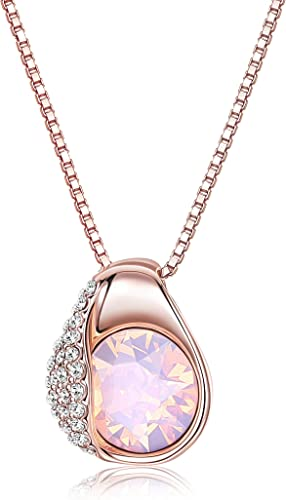Dainty Silver Plated Heart necklace with Pink Crystal for Bridesmaid on Giftcard