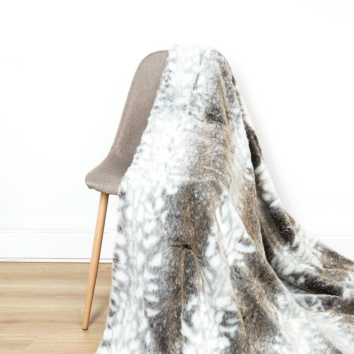 I Fil Home Laponie Plaid Kuscheldecke Bettüberwurf aus Kunstfell Kunstpelz 180 x 220 cm