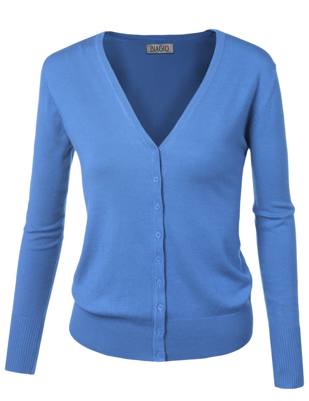 BIADANI Women Button Down Long Sleeve Soft V-Neck Cardigan Sweater Cobalt Large by BIADANI (Image #1)