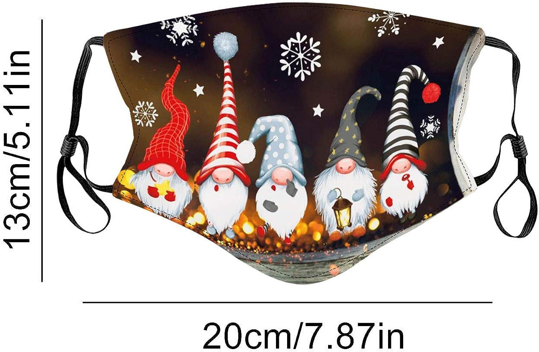 2 St/ück, B1 COMIOR 1//2 St/ück Polyester Mundschutz mit 2//4 Filter Erwachsene Cartoons Eichh/örnchen Zwerg Kobolddruck Weihnachtsmotiv Waschbar Atmungsaktiv Staubdichte Mundbedeckung for Weihnachten