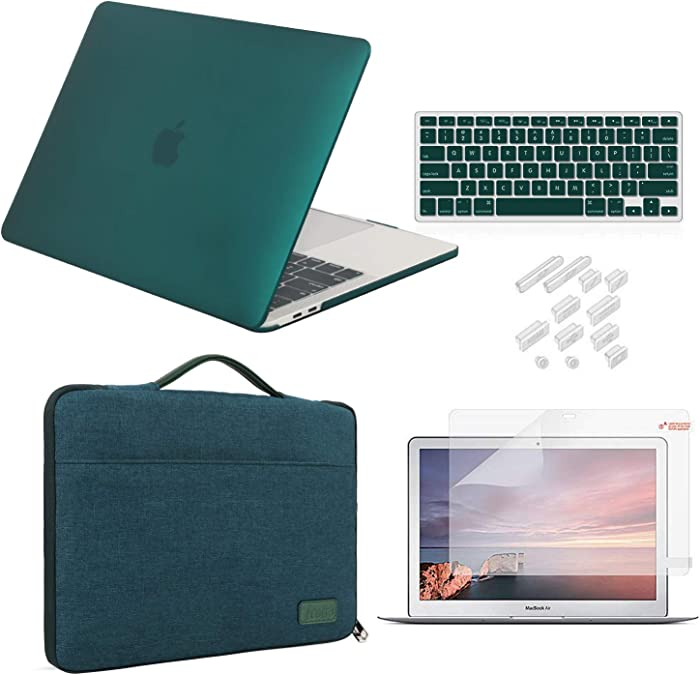 iCasso MacBook Air 13 Inch Case 2018 2019 Release Model A1932 Bundle 5 in 1, Hard Plastic Case, Sleeve, Screen Protector, Keyboard Cover & Dust Plug Compatible MacBook Air 13'' - Dark Cyan