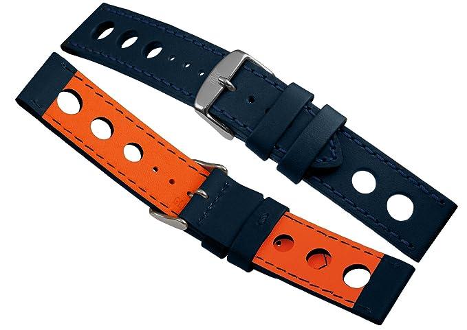 photos officielles 6bb47 10535 Davis - Bracelet Montre Racing Rallye Cuir Perforé 24mm Haute Qualité