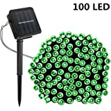 Solar String Lights,SOLMORE 55.8ft /17M 100 LED Solar Outdoor Fairy String Lights Starry Fairy Lights,Ambiance Lighting Waterproof for Holiday Wedding Gardens Home Party Patio Landscape Decor Green