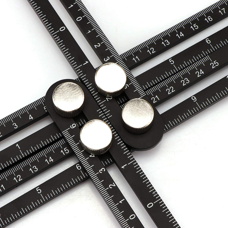 Angleizer Template Tool Bundle - Eciens Angle Finder Protractor Multi Angle Measurement Angularizer Ruler | Marine Grade Aluminum Material | Includes Velvet Travel Case and Carpenter Pencil