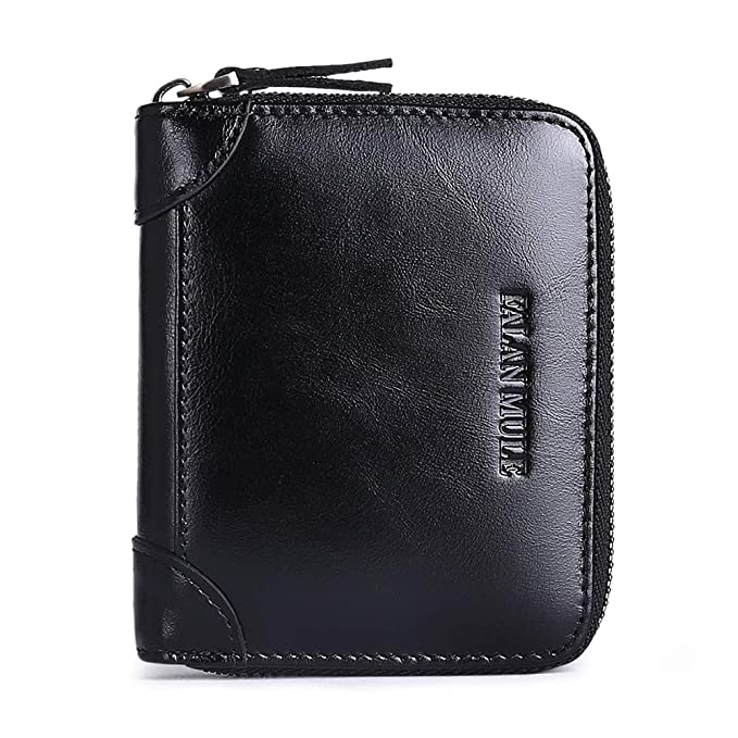 1739d2f181a0 Wallets For Men Genuine Leather Short Money Clip RFID Blocking Zipper Men's  wallet Portable For Front Pocket With ID Window