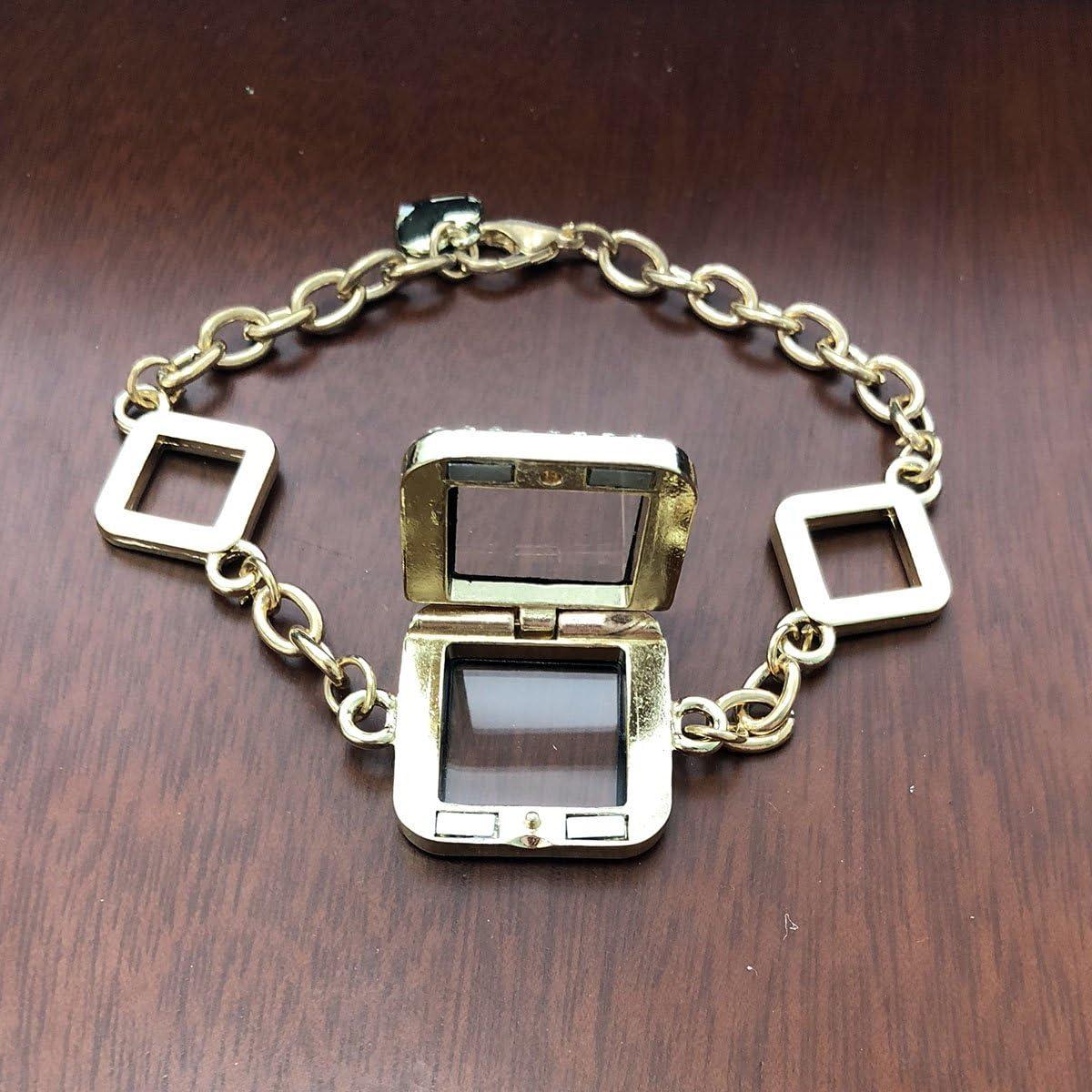 MayLove Rhinestone Floating Bracelet Glass Locket Living Memory Bangle Link Locket Charm Sqaure Shape