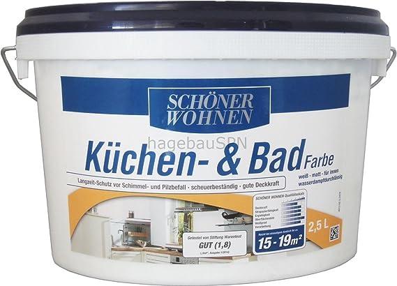 Küchen  Und Badfarbe Weiß Matt 2,5 L Schöner Wohnen: Amazon.de: Baumarkt