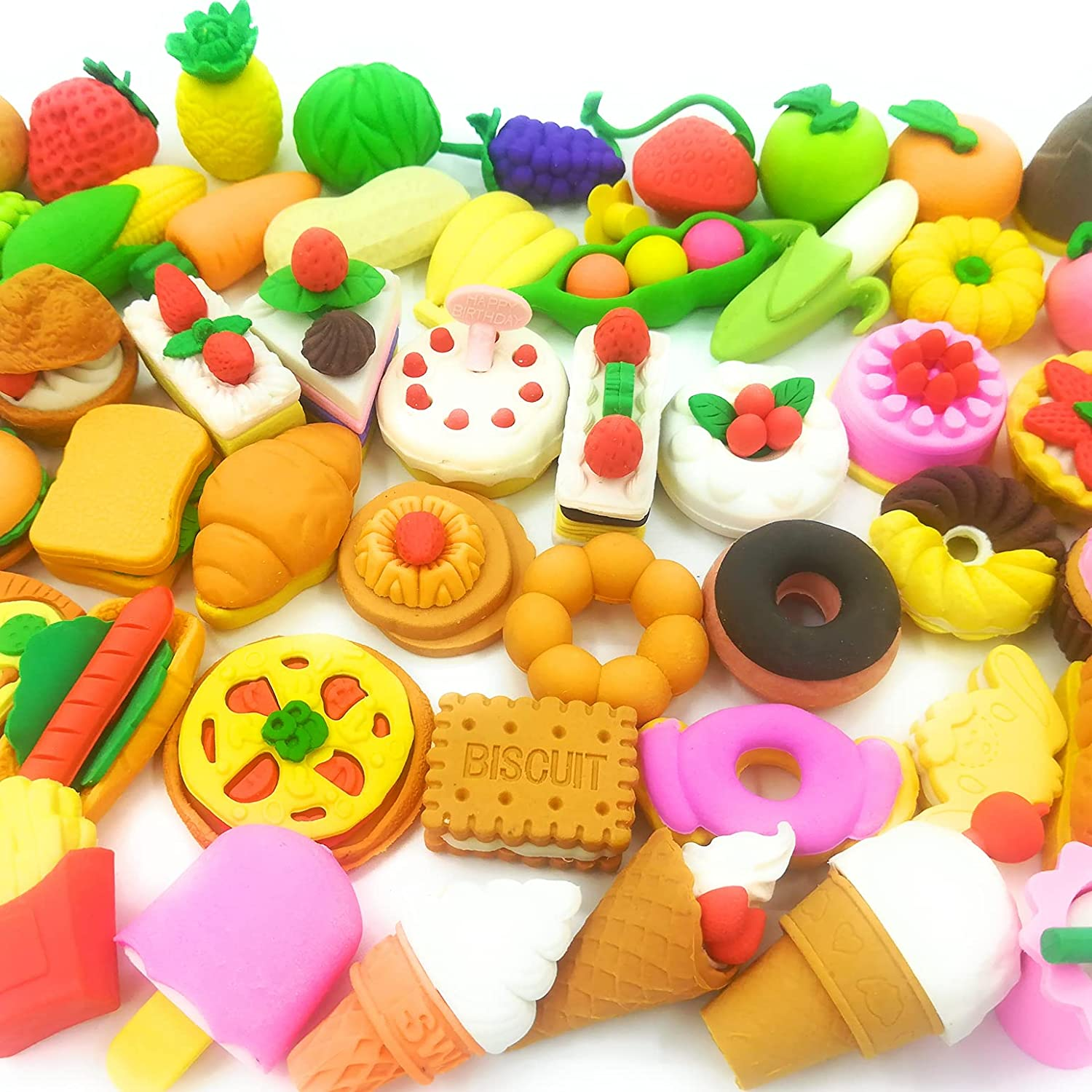 Food Erasers OHill Pack of 46 Pencil Erasers for Kids Pull Apart 3D Mini Erasers Assorted Food Cake Dessert Puzzle Erasers for Birthday Party Supplies Favors, School Classroom Rewards and Novelty Toys