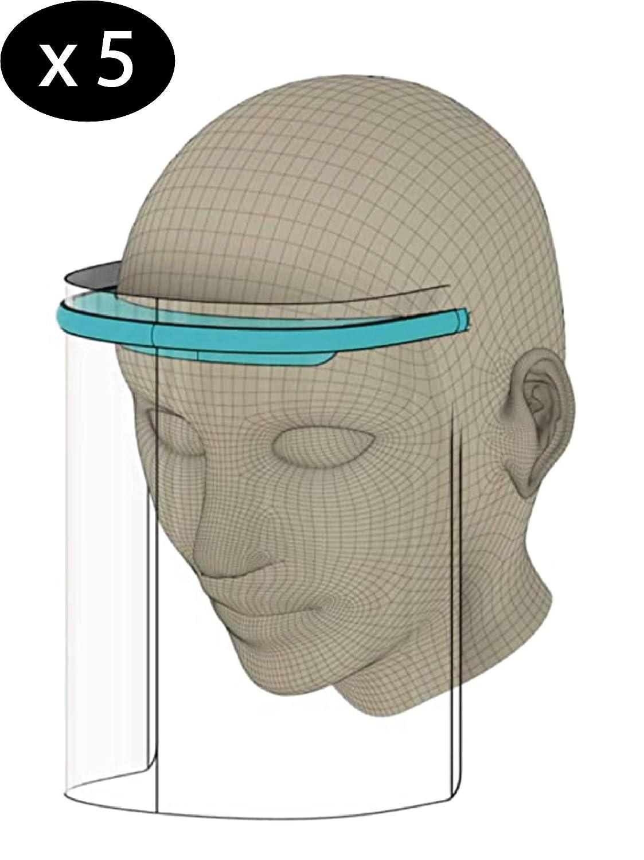 Pantalla Facial Protectora, 5 Viseras Protectoras Transparentes Ajustables de rostro Completo con Protección para ojos y cabeza, Cubierta Facial Antisalpicaduras para mujeres/hombres