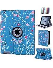 CULIKER - Exclusive Design Case for iPad 2/iPad 3/iPad 4 360 Rotating Colorful Design PU Leather Smart Stand Case Cover for Apple iPad 2 and iPad 3 and iPad 4 2012