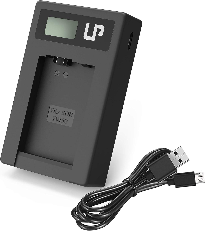 Cargador de Batería Cámara Sony con cable USB y pantalla LCD