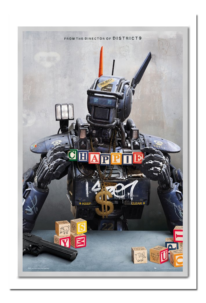 Chappie Movie One Sheet Poster Kork Pinnwand silber Rahmen, 96,5 x 66 cm (ca. 96,5 x 66 cm)