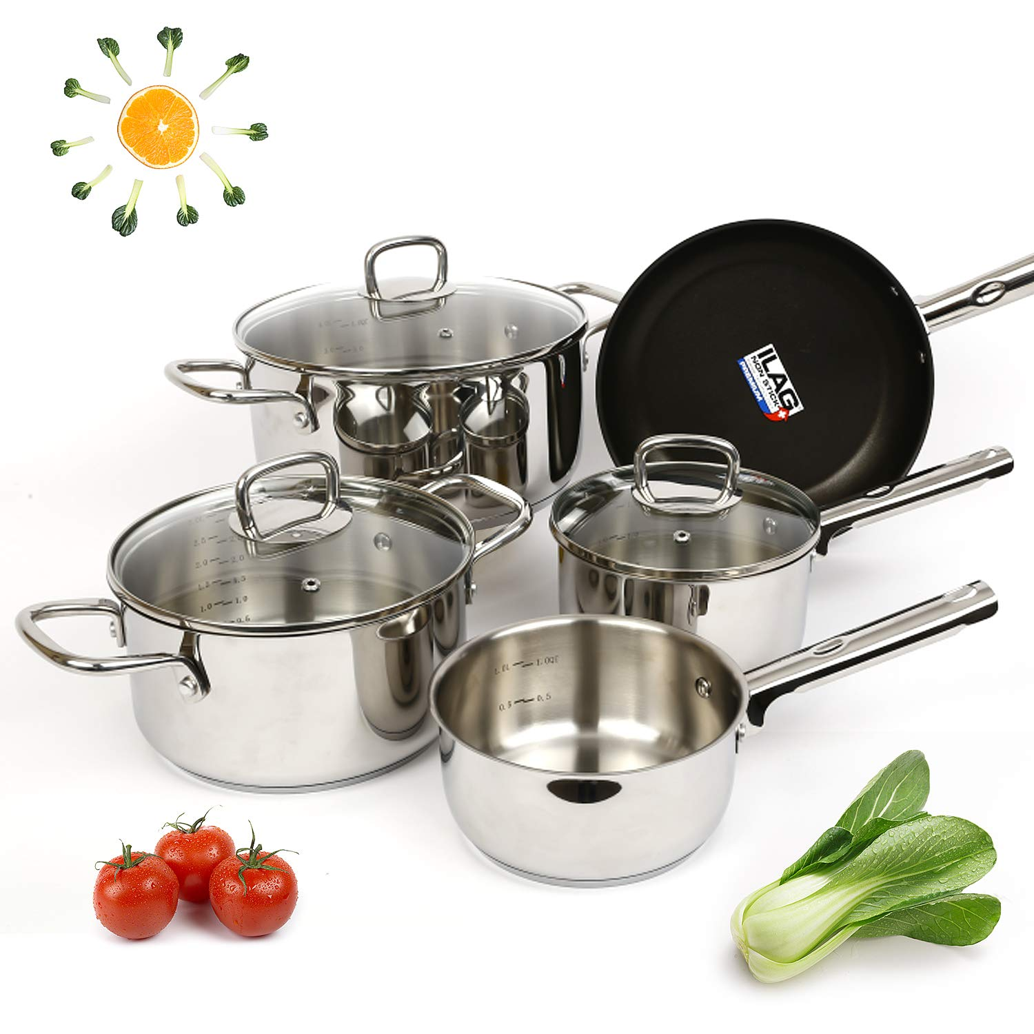 Viewee Cookware Sets Nonstick Pots and Pans Sets 18/10 Stainless Steel Kitchenware 8-Piece Dishwasher & Oven Safe Tri-Ply Saucepan Set with Lids, PFOA Free Compatible to Multi-Stove Top for Home