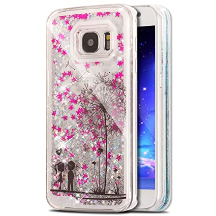 quality design 237bb a742c S7 Edge Case Samsung Galaxy S7 Edge Case for Girls EMAXELER 3D Creative  Design Angel Girl Flowing Liquid Floating Bling Shiny Liquid PC Hard Case  for ...