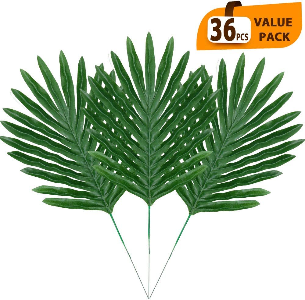 ElaDeco 36 Pcs Artificial Tropical Palm Leaves with Stems Luau Party Decoration Faux Palm Leaves Safari Leaves for Hawaiian Luau Party Jungle Beach Birthday Theme Decorations