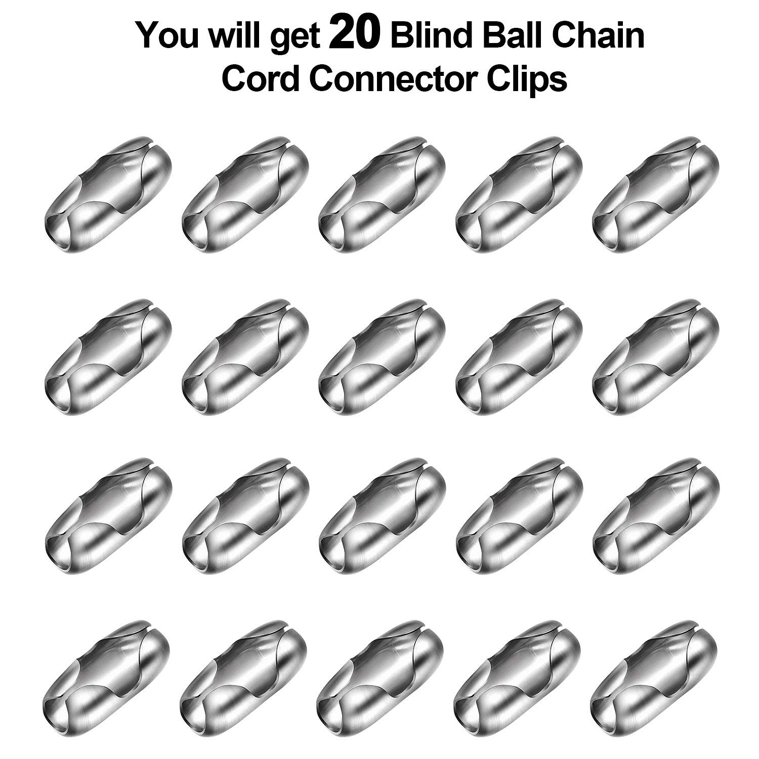 Pangda 20 Pack Replacement Vertical Roman Roller Blind Ball Chain Cord Connector Clips Stainless Steel