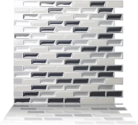 Tic Tac Tiles 10-Sheet 12x 12 Peel and Stick 3D Tile Sticker Self Adhesive Stick On Wall Tile for Kitchen Backsplash and Bathroom in Subway White Straight
