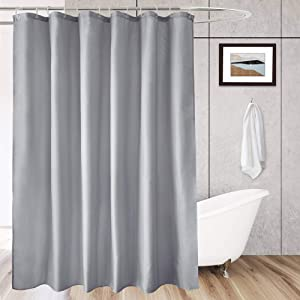 AooHome Extra Long Shower Curtain 72 Width x 78 Height Inch, Fabric Shower Curtain Liner for Hotel with Hooks, Waterproof, Light Grey