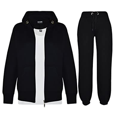 2ff1670d5611 Kids Girls Boys Plain Tracksuit Hooded Hoodie Bottom Jogging Suit ...