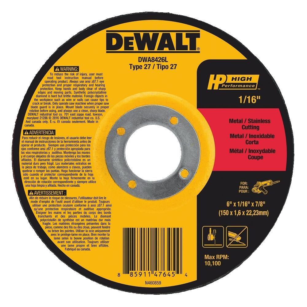 DEWALT DWA8424L T27 HP Long Life Cut-Off Wheel 4-1//2 x 1//16 x 7//8