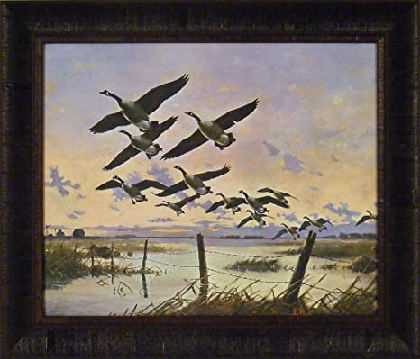 Canada Geese By Les Kouba 20x24 Flying Over Lake Fence Farm Framed Art Print Wall Décor Picture Posters Prints