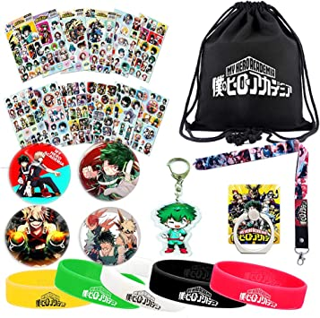 My Hero Academia Gift Drawstring Bag Stickers Keychain Phone Holder Bracelets Necklace Pins