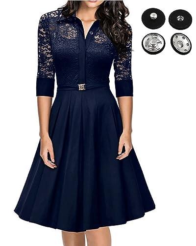 Women's Vintage 1950's 3/4 Sleeve Dress,Party Lace Swing Black Dresses by GABREBI