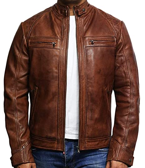 e7539730eace Brandslock Mens Leather Jacket Cafe Racer Genuine Lambskin Moto Biker  Slimfit Tan (X-Small